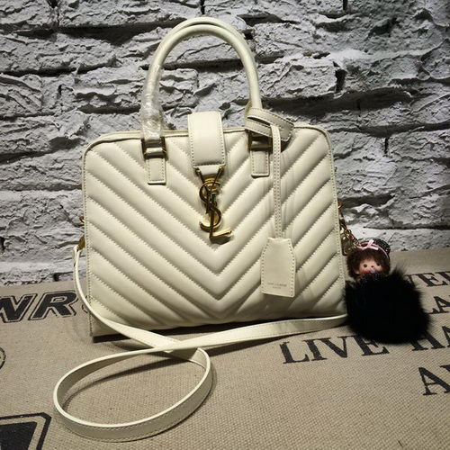 Saint Laurent Cabas Smooth Leather Top Handle Bag Y2764 White