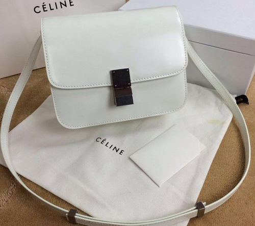 Celine Classic Box Small Flap Bag Smooth Leather C11042 OffWhite