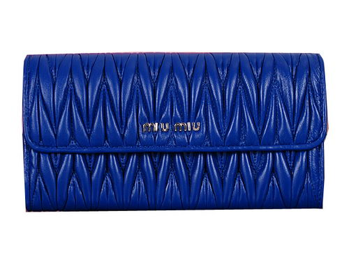 miu miu Matelasse Original Sheepskin Leather Wallet 5M1035 Royal