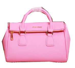 miu miu Calfskin Leather Top-Handle Bag MM3267 Pink