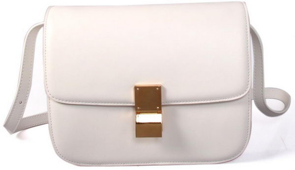 Celine Classic Box Small Flap Bag Smooth Leather C88007C White