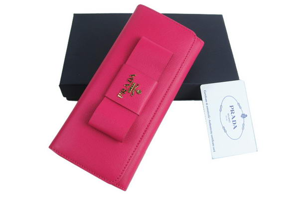 Prada Saffiano Calf Leather Wallet 1M1132 Rosy