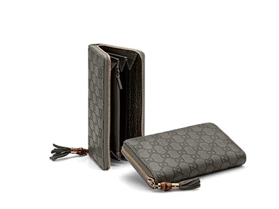 Gucci Guccissima Leather Zip Around Wallet 224253 Grey