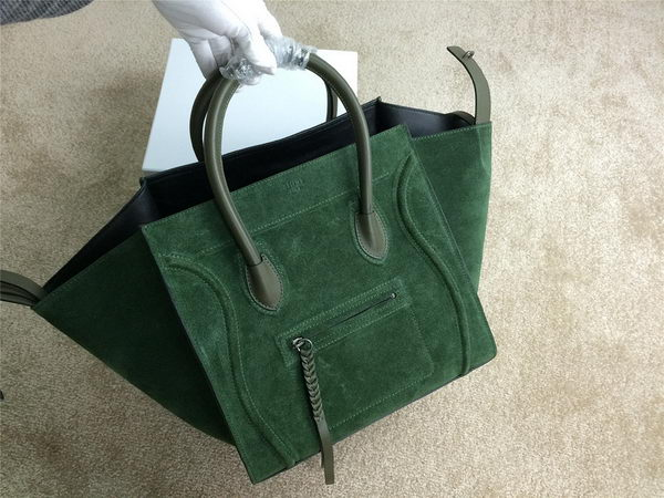 Celine Luggage Phantom Bags Nubuck Leather 99013 Dark Green