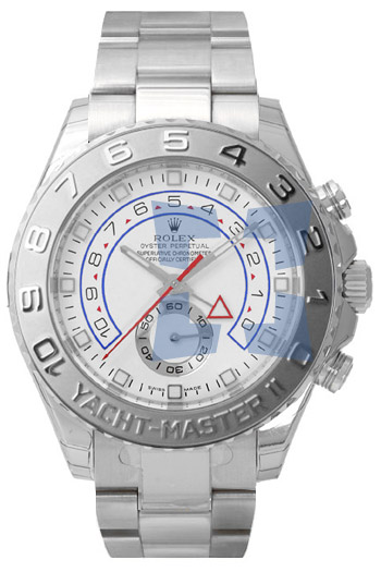 Rolex Yachtmaster II Series Elegant Mens Automatic 18k White Gold and Platinum Wristwatch 116689
