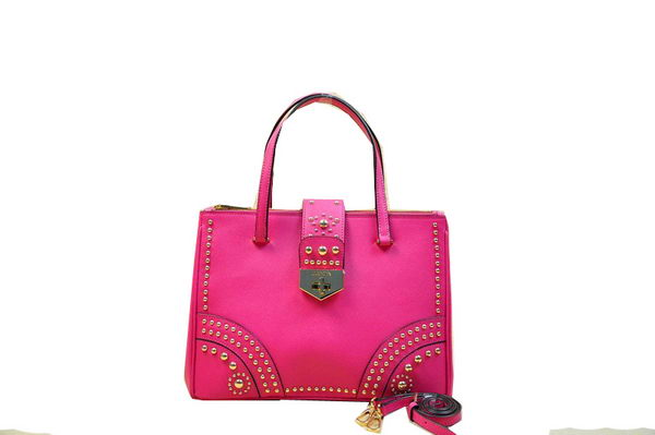 Prada Saffiano Leather Tote With Metal Studs B2752M Rose