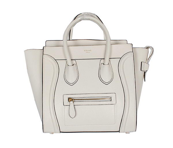 Celine Luggage Mini Bag Grainy Leather CL104 White