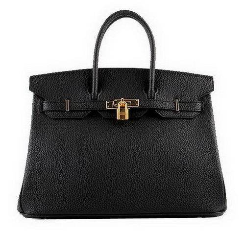 Hermes Birkin 35CM Tote Bags Black Grainy Leather H-35 Gold