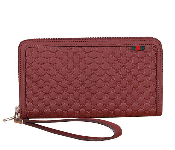 Gucci Guccissima Leather Zip Around Wallet G301 Maroon