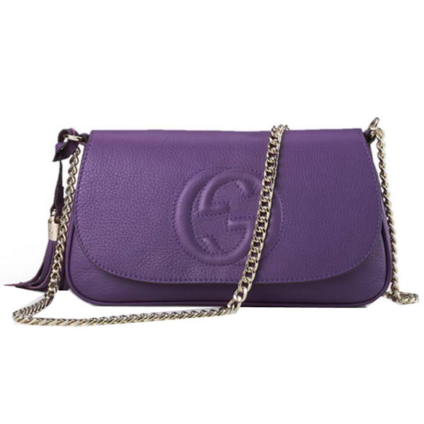 Gucci Soho Original Leather Shoulder Bag 336752 Purple