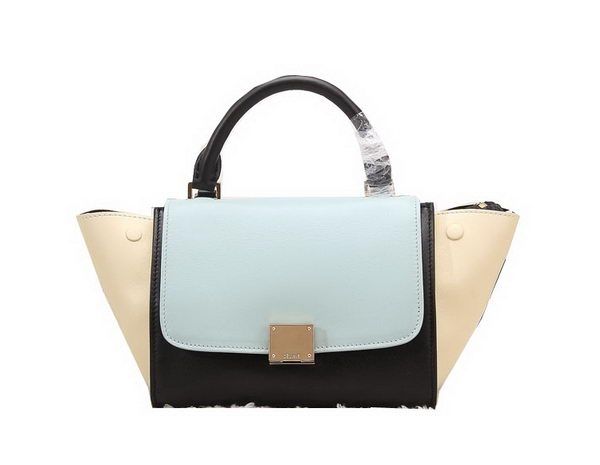 Celine Nano Trapeze Bag Original Leather C88038 Light Blue&Black&Beige