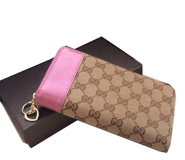 Gucci GG Supreme Canvas Zip Around Wallet 274586 Rose