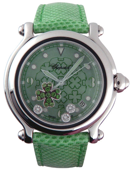 Chopard Happy Sport Series Good Luck Clover Diamond Emerald Mens Watch 288426 in Green