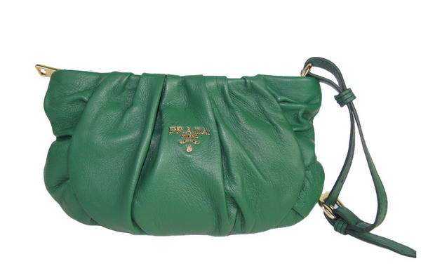 Prada Nappa Leather Gaufre Wristlet Clutch BN1503 Green