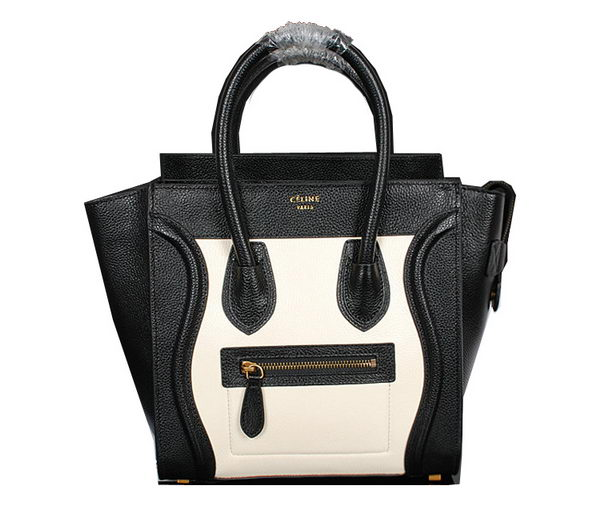 Celine Luggage Micro Handbags Grainy Leather C107 Black&White