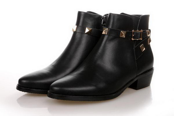 Valentino Sheepskin Leather Ankle Boot VT174 Black