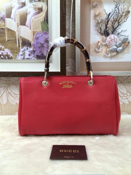 Gucci Bamboo Tote Bag Grainy Calf Leather 323660 Red