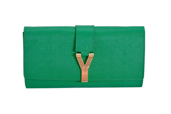 New Cheap  YSL Chyc Travel Case in Green Claf Leather