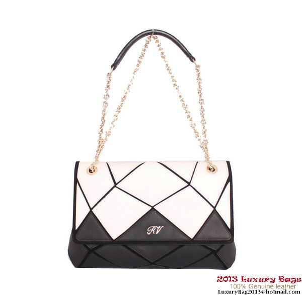 ROGER VIVIER Prismick Medium Calskin Leather Bag RV3608 Black&White