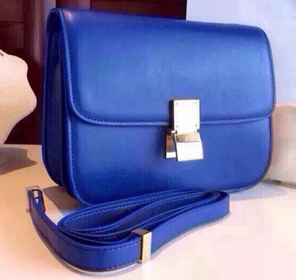 Celine Classic Box Flap Bag Calfskin Leather C2263 Blue