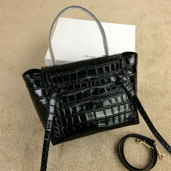 Celine mini Belt Bag Croco Leather C98311 Black
