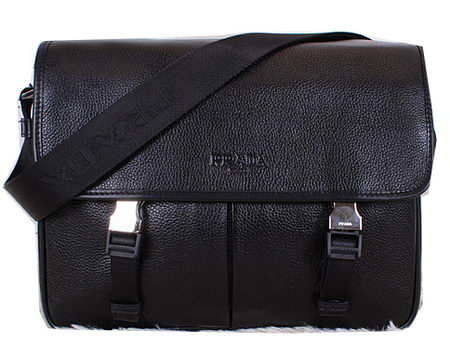 Prada VA0768 Black Grainy Calf Leather Messenger Bag