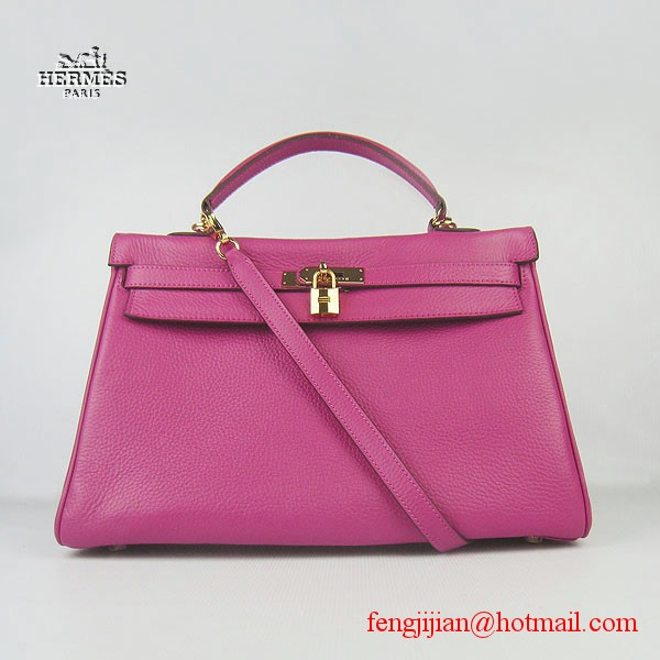 Hermes Kelly 35cm Togo Leather Bag Peachblow 6308 Gold Hardware