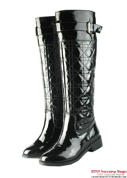 Dior Patent Leather Knee Boots D0119 Black