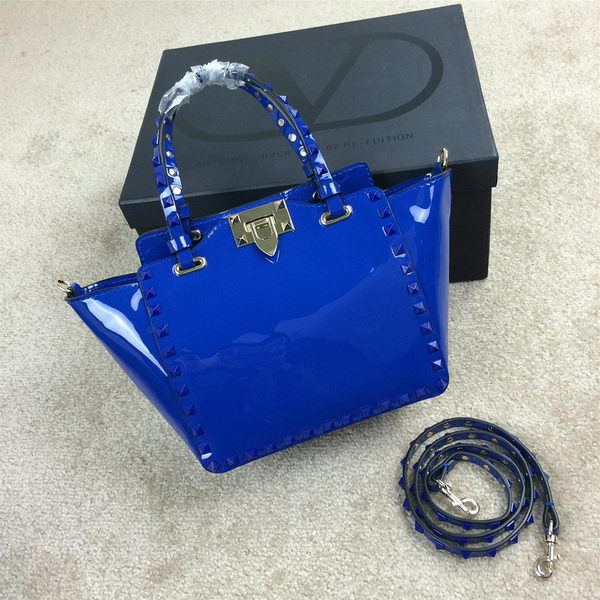 Valentino Garavani Rockstud mini Tote Bag Patent Leather VG1918 Blue