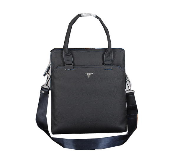 Prada Grainy Calf Leather Tote Bag P252 Blue