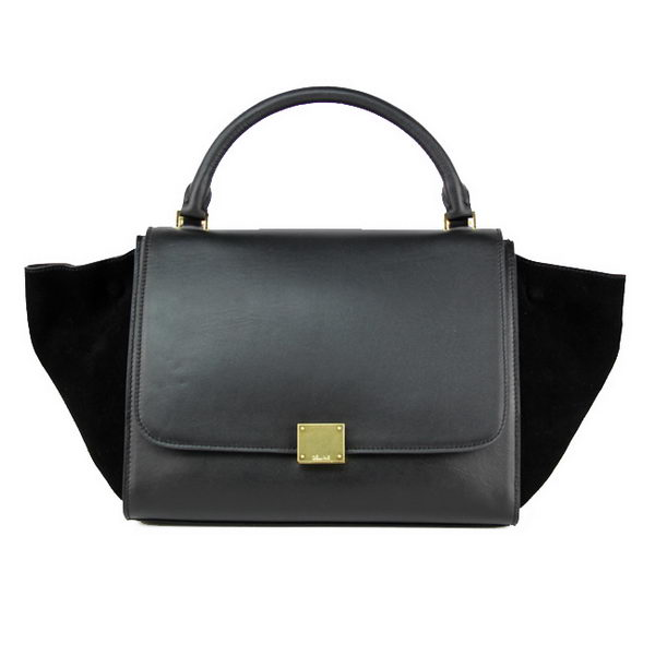 Celine Trapeze Bag Calfskin & Nubuck Leather 88037 Black