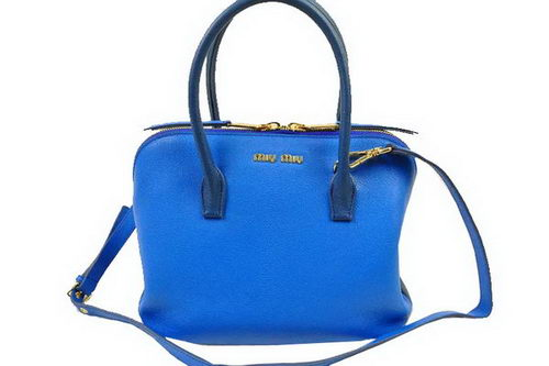 miu miu Madras Goat Leather Top Handle Bag RL0097 Blue