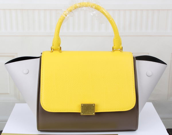 Celine mini Trapeze Bag Original Leather CT3345 Yellow&Khaki&White