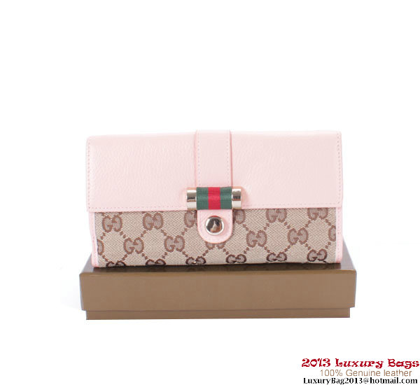 Gucci Web Medium Flap Wallet 233006 Pink