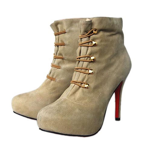 Christian Louboutin Fifre Suede Ankle Boots Sand