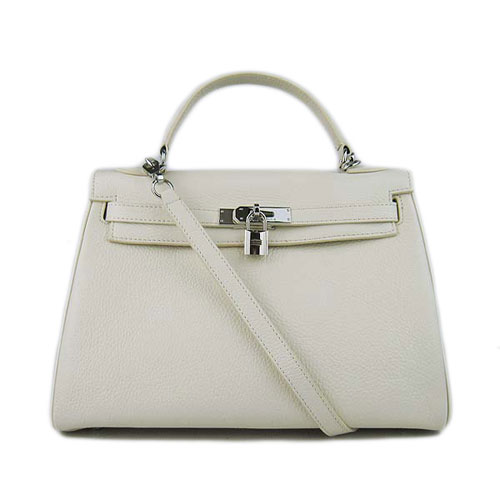 Hermes Kelly 32cm Togo Leather Handbags 6018 White Silver
