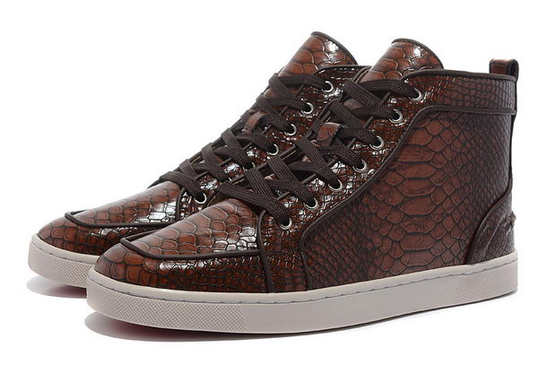 Christian Louboutin Casual Shoes Snake Leather CL866 Brown
