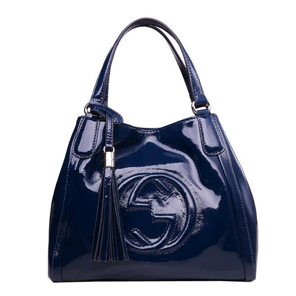 Gucci Soho Shoulder Bag Patent Leather 336751 RoyalBlue