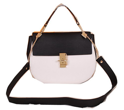 CHLOE Drew Small Grained Leather Shoulder Bag 1123 Black&White