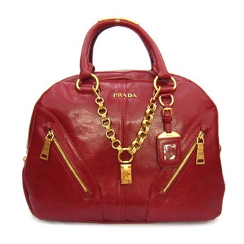 Prada Leather Bowler Satchel Bags BL0582L Red