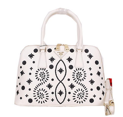 Prada Weave Leather Top Handle Bag BL0812 White