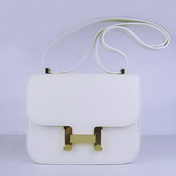 Hermes Constance Bag White Oxhide Leather Gold
