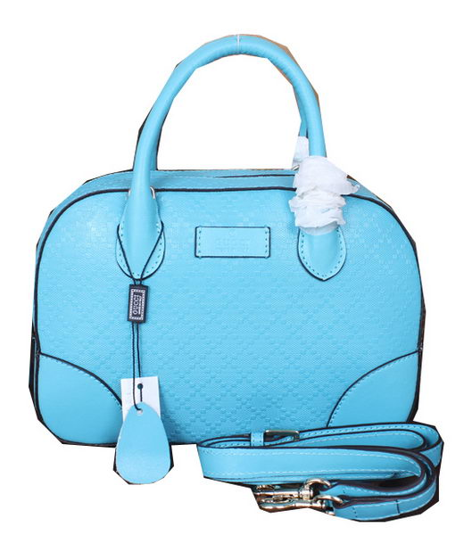 Gucci Bright Diamante Leather Top Handle Bags 354224 Light Blue
