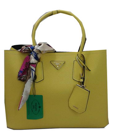 Prada Saffiano Calf Leather Tote Bag BN2756 Lemon
