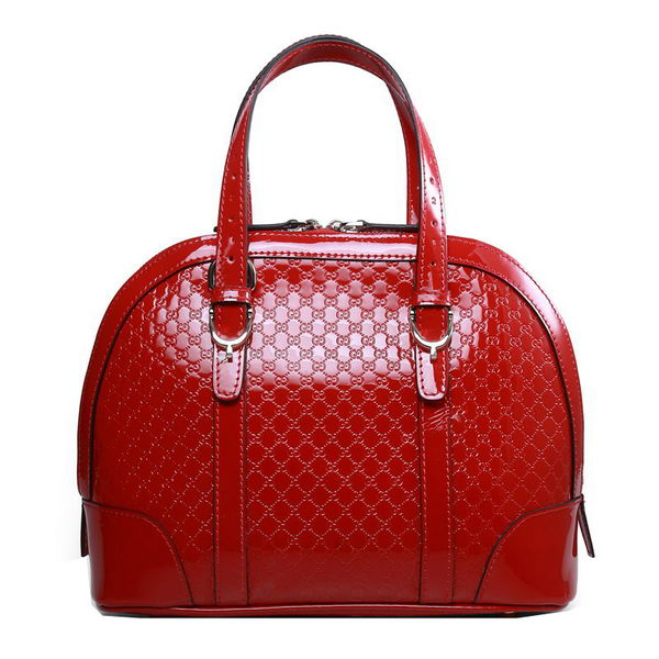 Gucci Nice Patent Microguccissima Leather Small Top Handle Bag 309617 Red