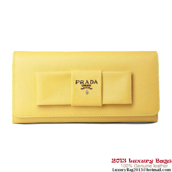 Prada Saffiano Leather Wallet with Leather Bow 1M1148 Yellow