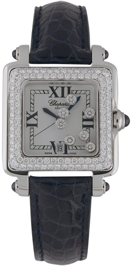 Chopard Happy Sport Series Diamond Steel Style Ladies Quartz Wristwatch 278361-23 in Black