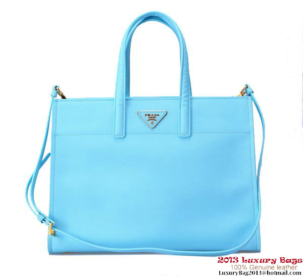 Prada Soft Saffiano Leather Tote Bag BN2603 Light Blue