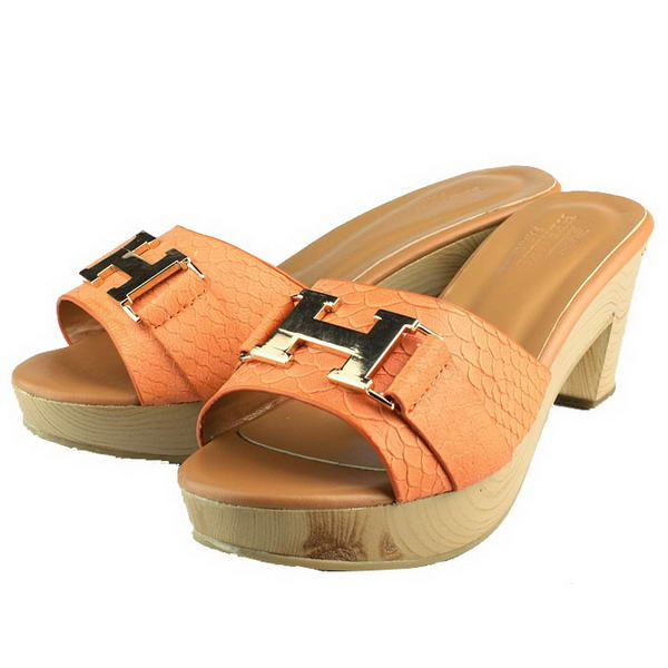 Hermes Snake Veins Leather Slide Sandals Orange