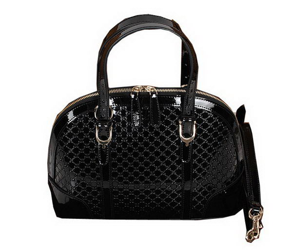Gucci 309617 Black Nice Patent Microguccissima Small Top Handle Bag